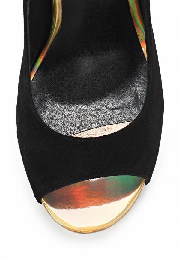 фото Туфли на толстом каблуке Basic BA009AWAAN86, черные с открытым носом