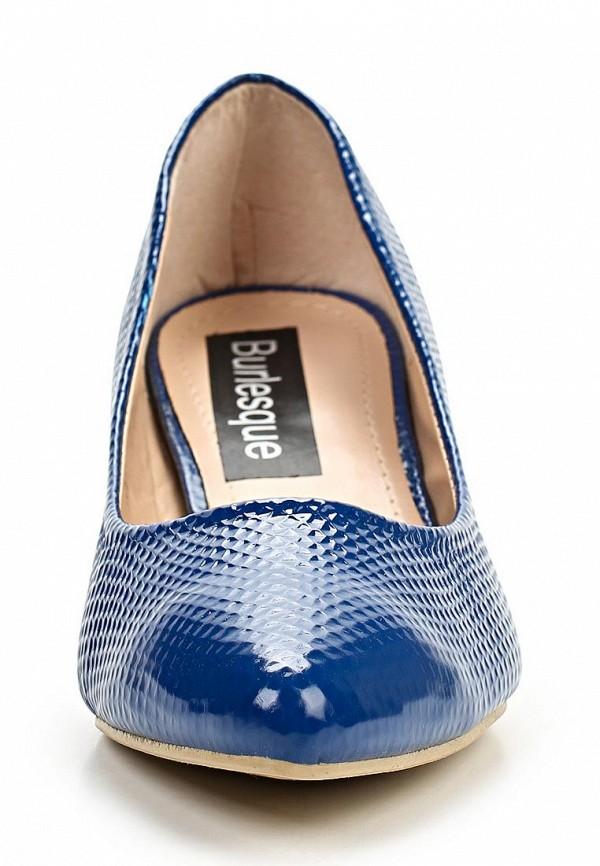 фото Туфли на низком каблуке Burlesque BU001AWBQU44, синие кожаные