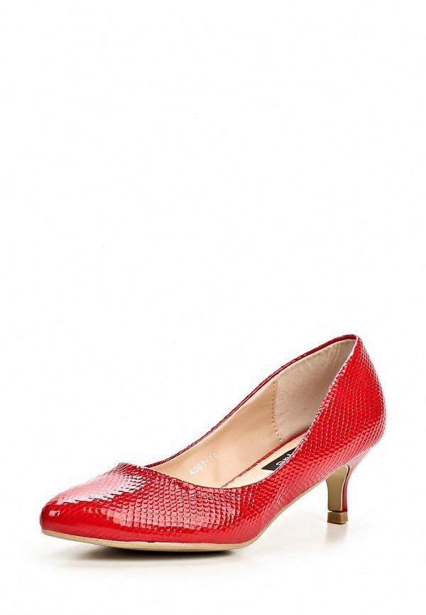 фото Туфли на низком каблуке Burlesque BU001AWBQU45, красные кожаные