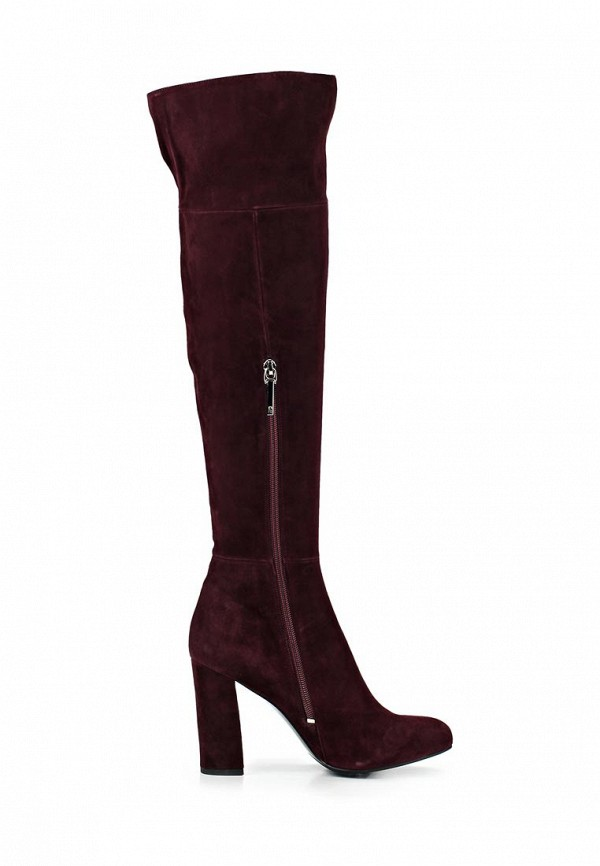фото Женские ботфорты на каблуке Calipso CA549AWCNY48, бордовые (велюр)