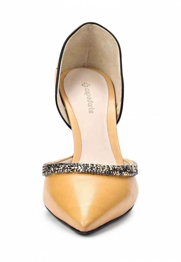 фото Туфли на каблуке Capodarte CA556AWAET21, желтые кожаные