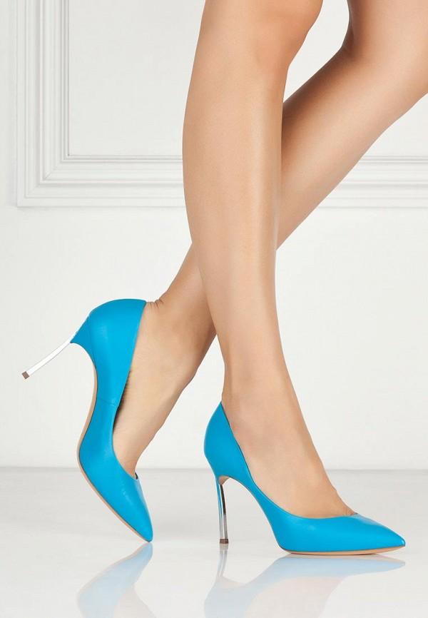 фото Туфли на шпильке Casadei CA559AWAUF27, голубые кожаные