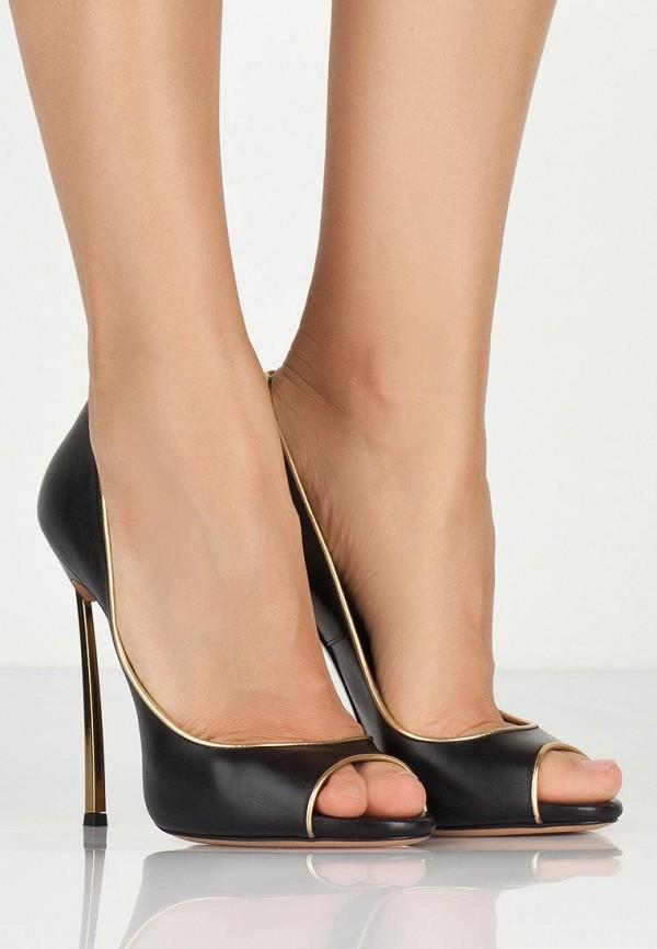 фото Туфли на шпильке с открытым носом Casadei CA559AWAUF67, черные