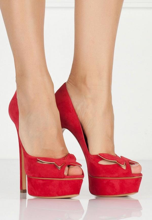 фото Туфли на платформе и высоком каблуке Casadei CA559AWAUF83, красные
