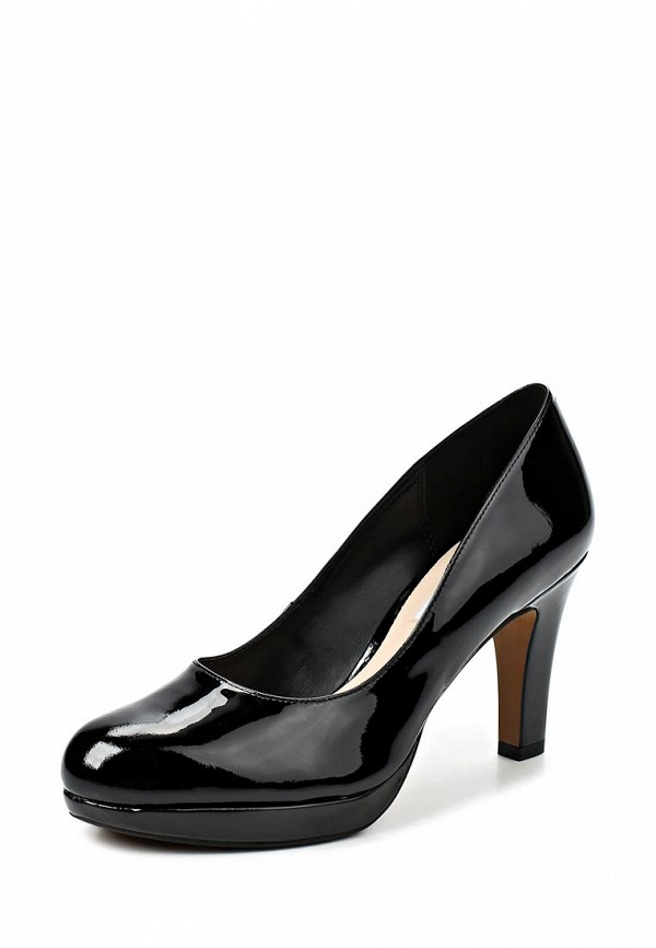 фото Туфли лаковые на платформе Clarks CL567AWCEN82, черные кожаные на каблуке