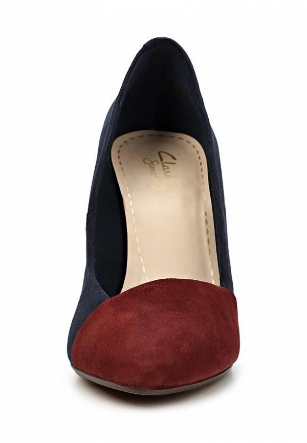 фото Туфли на толстом каблуке Clarks CL567AWCEO43, синие/бордовые
