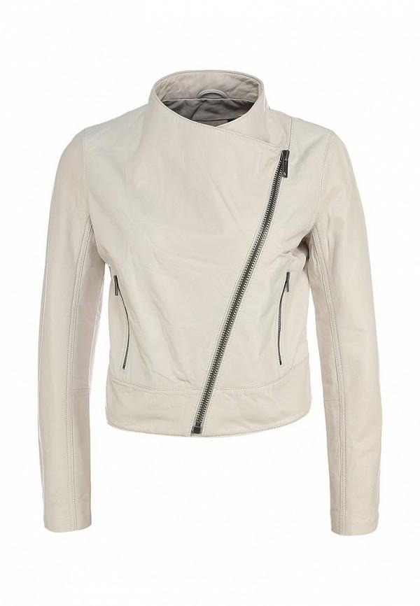 Куртка кожаная DKNY Jeans DK007EWKG156. Цвет: бежевый