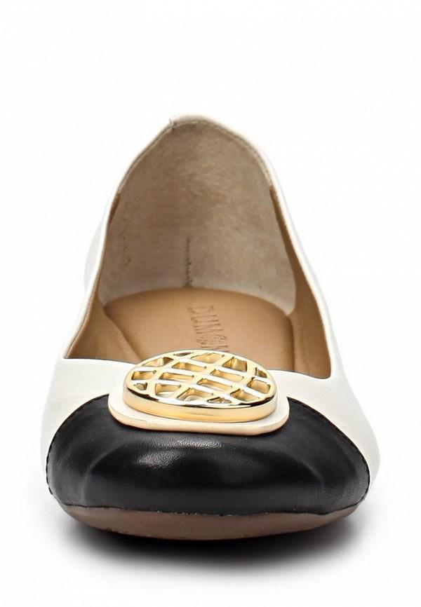 фото Балетки на каблуке Dumond DU593AWAET65, белые с черным (кожа)