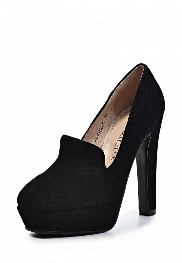 фото Туфли-лоферы женские Elche EL242AWJX762, черные на каблуке