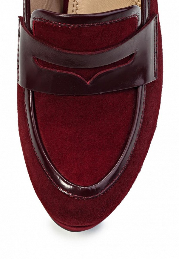 фото Туфли-лоферы на высоком каблуке Elche EL242AWJX768, бордовые/платформа