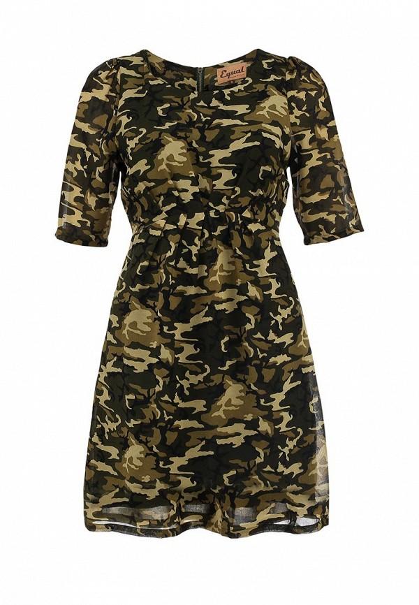 Платье Платье Equal Equal FW13JDS0006EW Платье Equal женское. Цвет: хаки. Сезон: Осень-зима 2013/2014