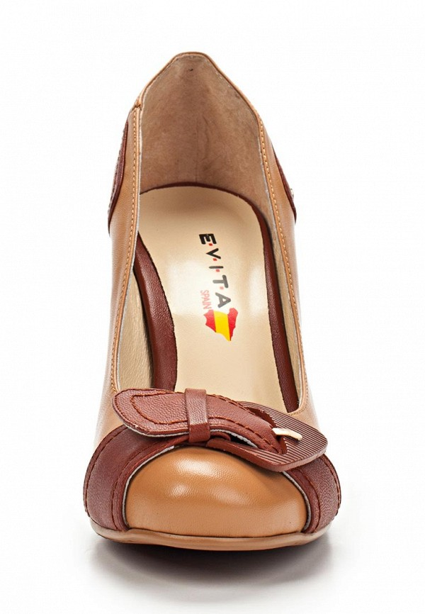 фото Туфли на толстом каблуке Evita EV002AWBQB55, коричневые (кожа)