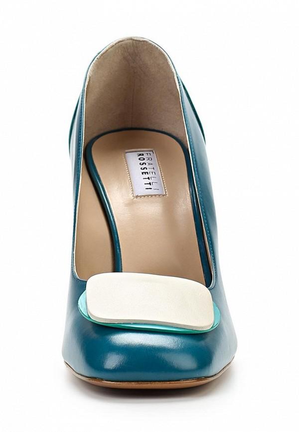 фото Туфли на толстом каблуке Fratelli Rossetti FR951AWAYY75, синие кожаные