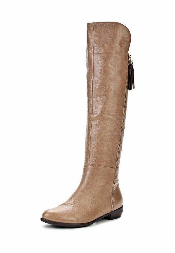 фото Женские ботфорты без каблука Gerzedo GE007AWCPA01, бежевые/демисезон