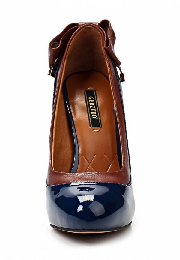 фото Туфли на высоком каблуке Gerzedo GE007AWKG772, коричнево-синие (кожа, лак)