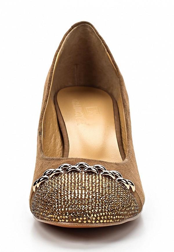 фото Туфли на устойчивом каблуке Grand Style GR025AWBGL04, коричневые (замша)