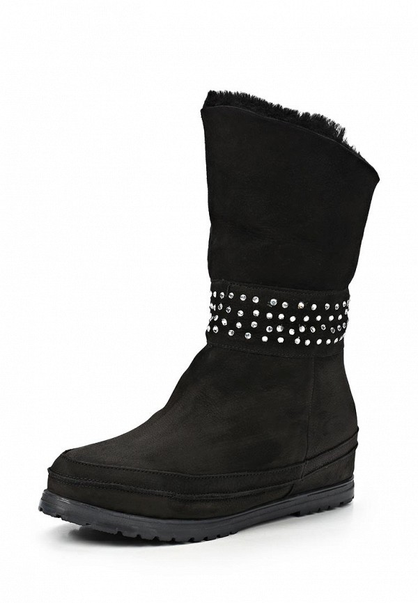 фото Сапоги женские короткие без каблука Grand Style GR025AWCHP76, черные