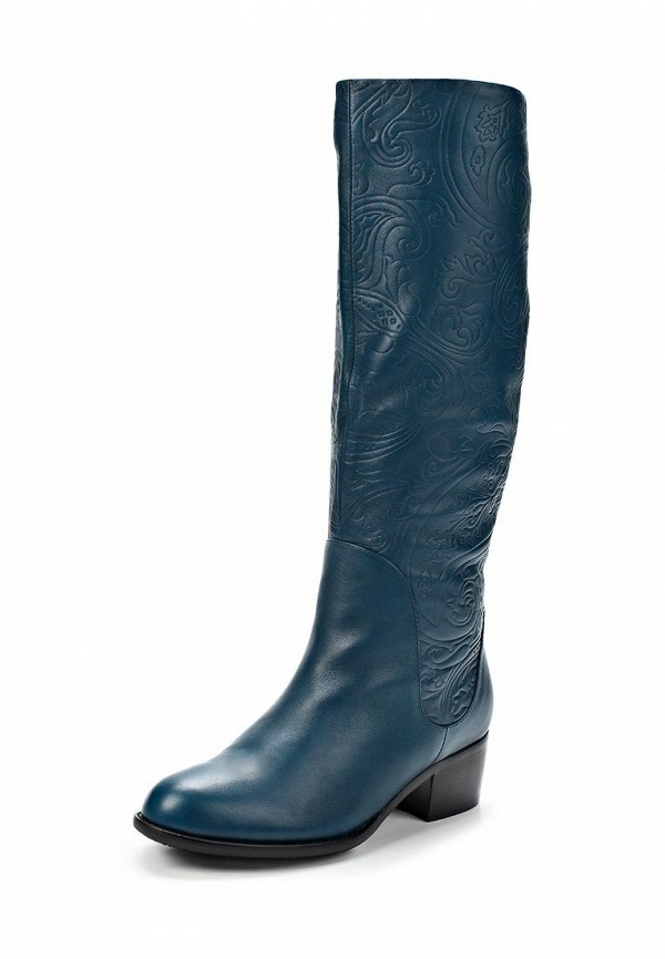 фото Сапоги женские на каблуке Grand Style GR025AWCHP99, синие кожаные