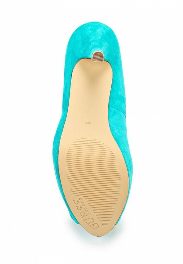фото Туфли на платформе с открытым носом Guess GU460AWAVW36, бирюзовые/каблук