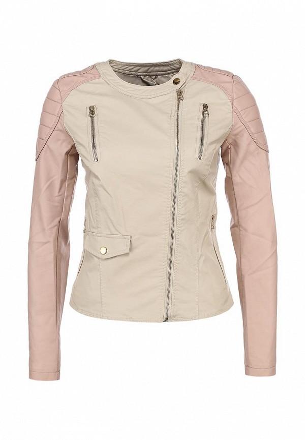 Куртка кожаная Incity IN002EWBAX93. Цвет: бежевый, розовый