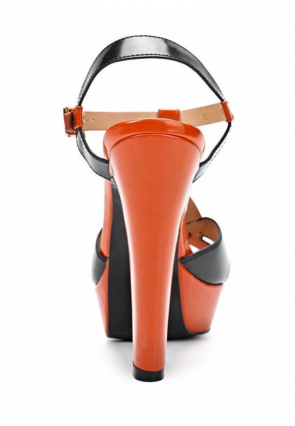 фото Босоножки на платформе Inario IN029AWBDZ90, черно-оранжевые/каблук