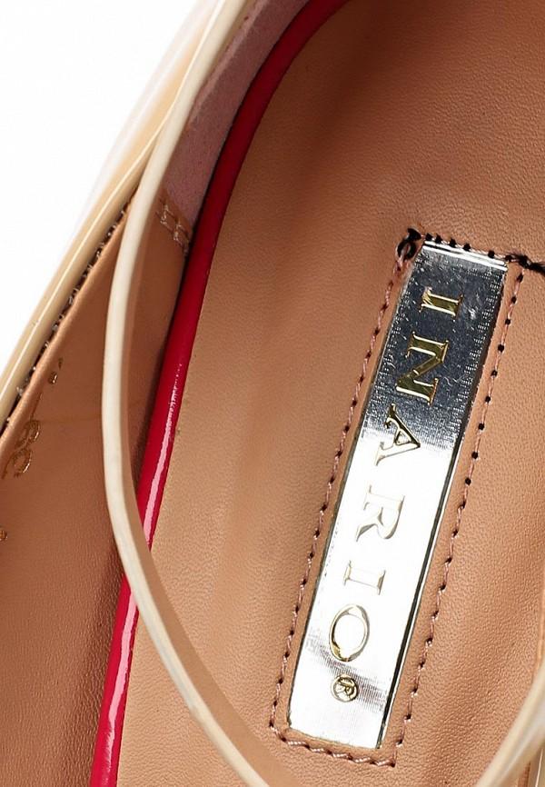 фото Туфли на каблуке с открытым носом Inario IN029AWBEA98, бежевые (кожа, лак)