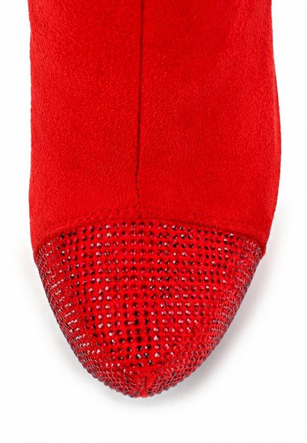 фото Ботфорты на платформе и шпильке Inario IN029AWCMD89, красные