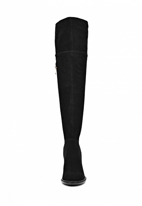 фото Женские ботфорты на каблуке Inario IN029AWCMF43, черные (замша)