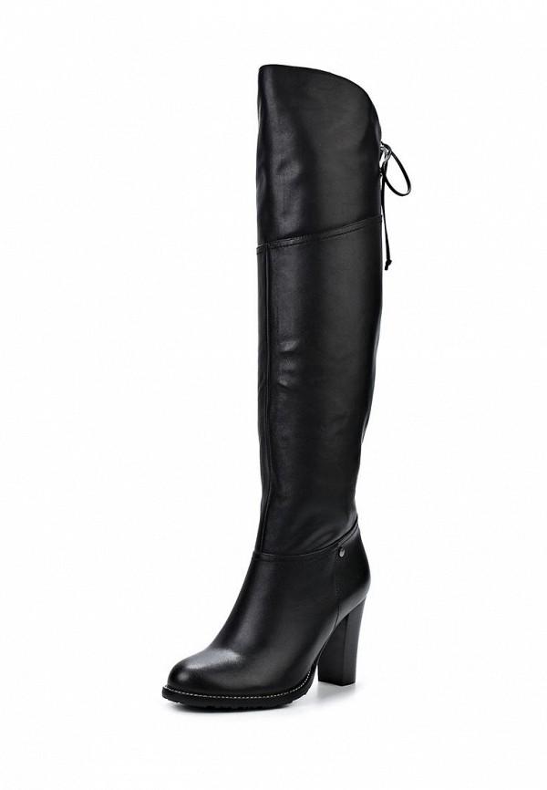 фото Женские ботфорты на каблуке Inario IN029AWCMF51, черные кожаные