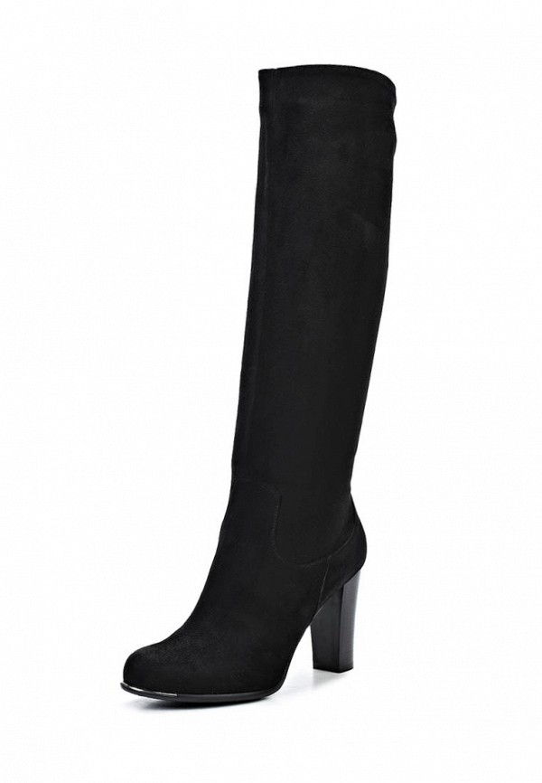 фото Сапоги женские на каблуке Inario IN029AWCMG74, черные замшевые