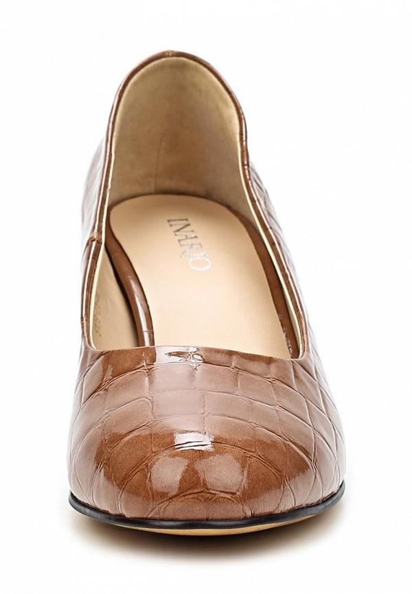 фото Туфли на толстом каблуке Inario IN029AWCMH06, коричневые из лаковой кожи