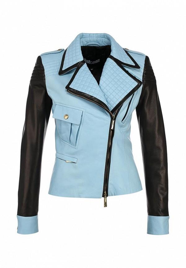 Куртка кожаная Just Cavalli JU662EWABU24. Цвет: голубой