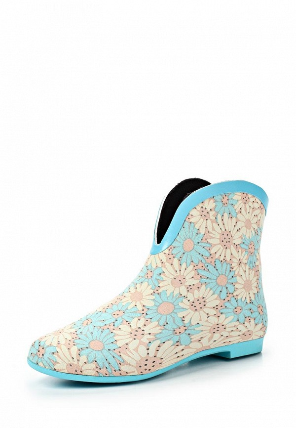 фото Женские резиновые полусапоги Keddo KE037AWAJO74, голубые с цветами