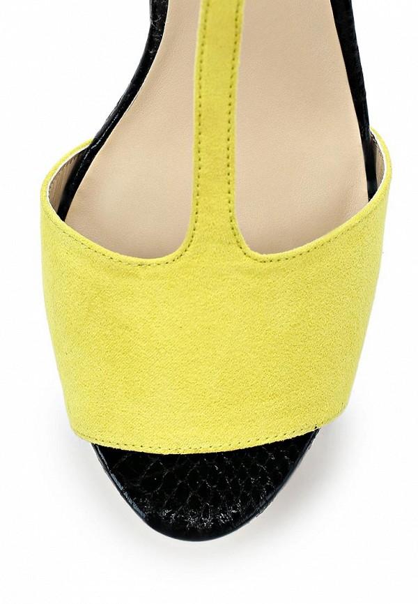 фото Босоножки на высоком каблуке Kira Plastinina KI001AWABU82, черно-желтые