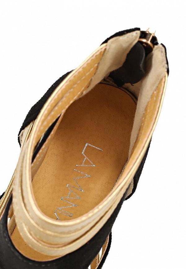 фото Босоножки на каблуке Lamania LA002AWAAB98, черно-золотистые