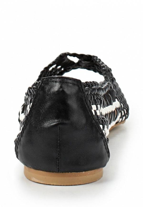фото Балетки на каблуке с открытым носом Lamania, черно-белые кожаные