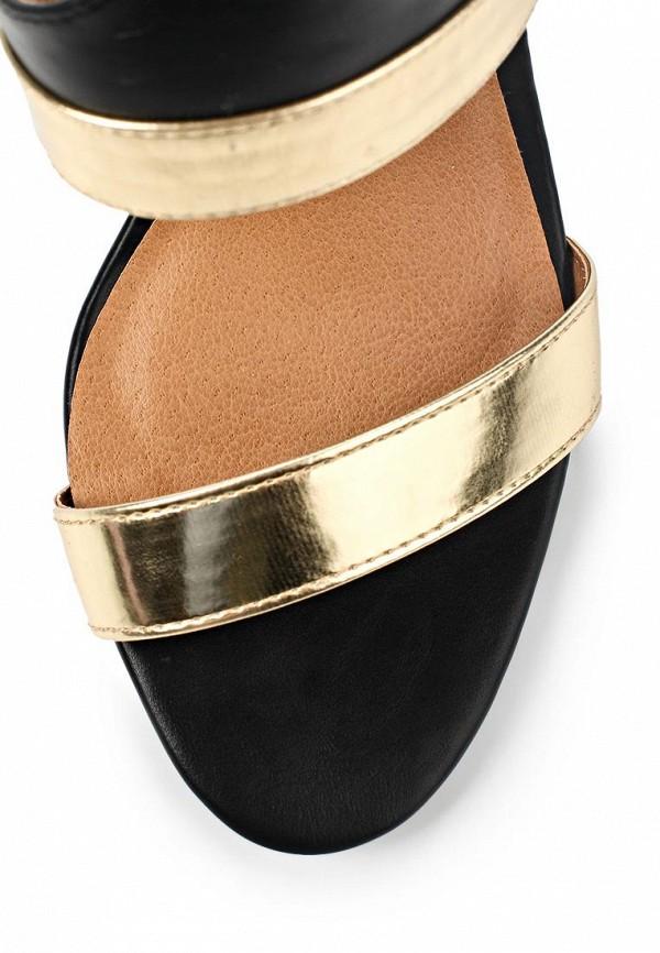 фото Босоножки на каблуке Lamania LA002AWAAF65, черно-золотые