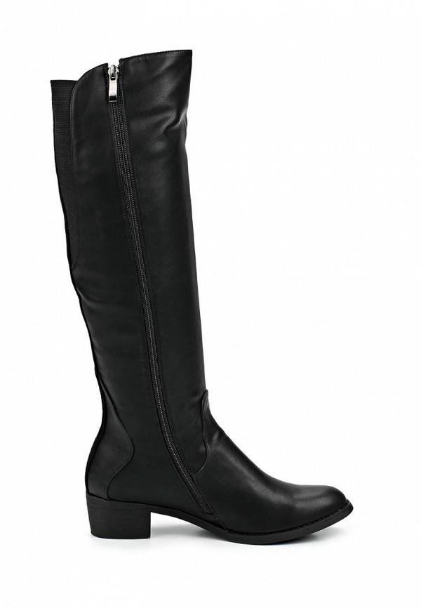 фото Сапоги женские на низком каблуке Lamania LA002AWBOK41, черные (кожа)