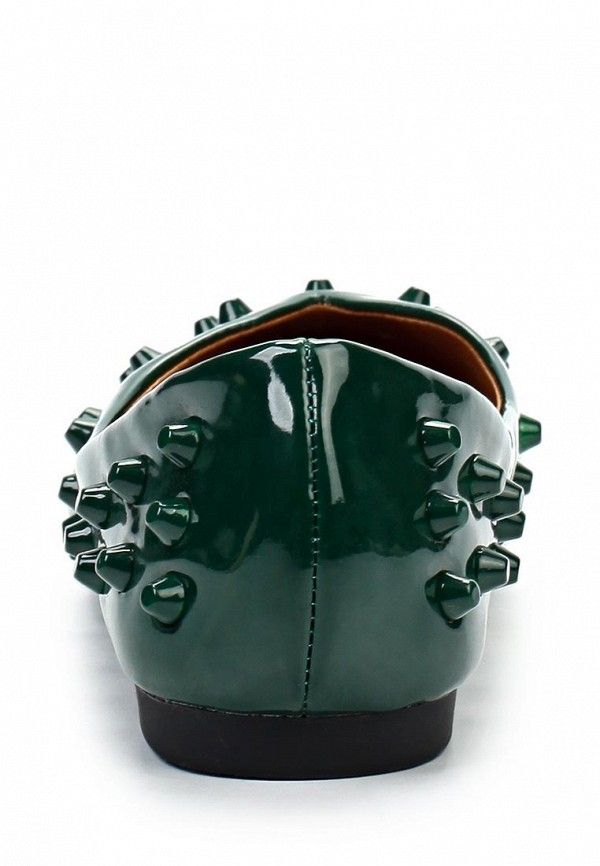 фото Балетки женские Lamania LA002AWHO710, зеленые (кожа, лак)