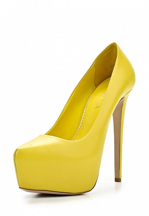 фото Туфли на платформе и шпильке Le Silla LE682AWAEO91, желтые
