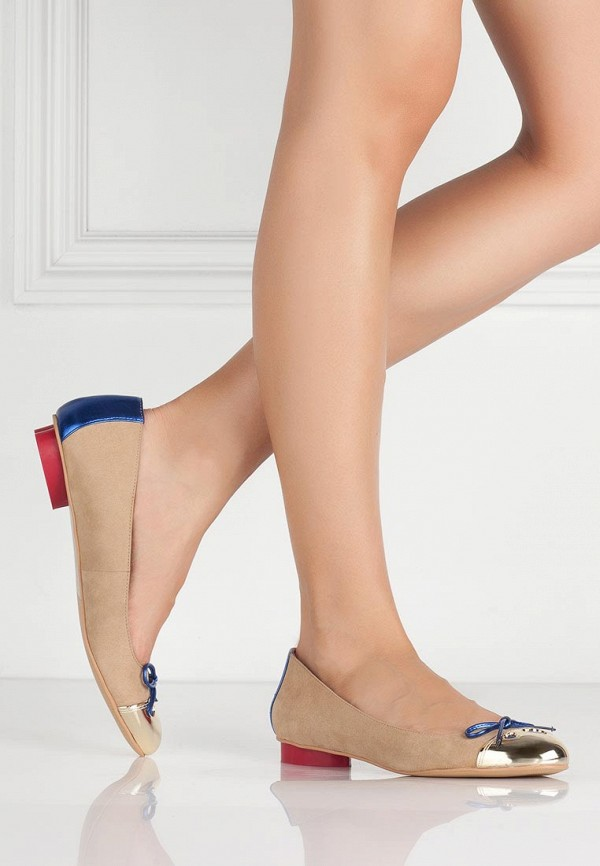 фото Балетки на каблуке Love Moschino LO416AWBCY72, бежевые/золото