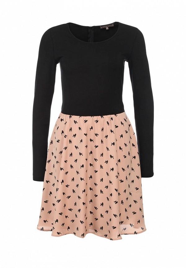 Платье Mint&Berry. Цвет: бежевый, черный