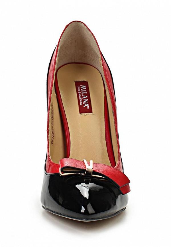 фото Туфли на каблуке-шпильке Milana MI840AWABF72, красно-черные (кожа-лак)