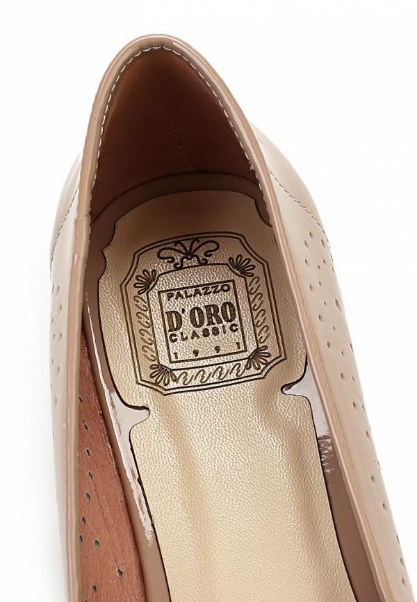 фото Лоферы на каблуке Palazzo D'oro PA001AWBAJ11, бежевые лаковые