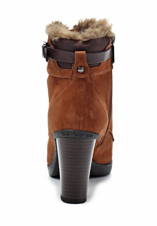 фото Ботильоны на толстом каблуке Samsonite SA001AWIN668, коричневые (замша)