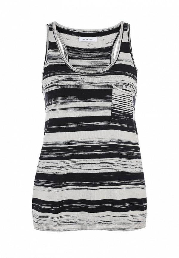 Майка Selected Femme SE781EWCW189. Цвет: серый