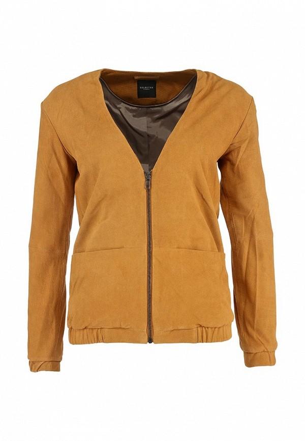 Кожаная куртка Selected Femme SE781EWFH232. Цвет: коричневый