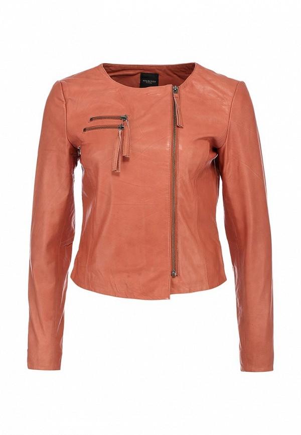 Куртка кожаная Selected Femme SE781EWHP979. Цвет: розовый