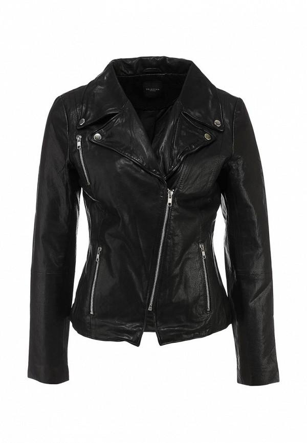 Куртка кожаная Selected Femme SE781EWIT819. Цвет: черный