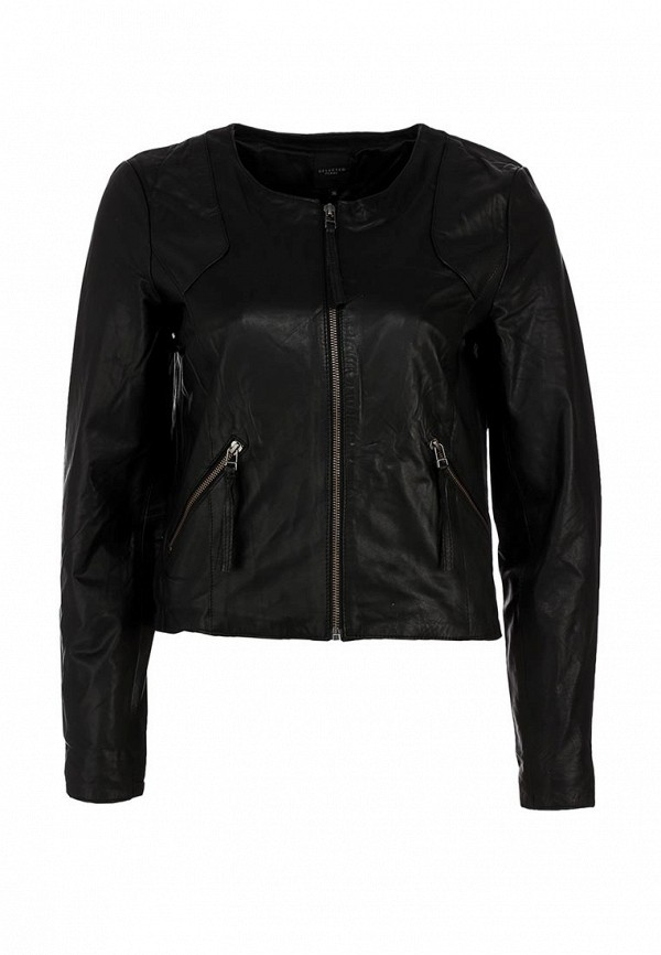 Куртка кожаная Selected Femme SE781EWIW218. Цвет: черный